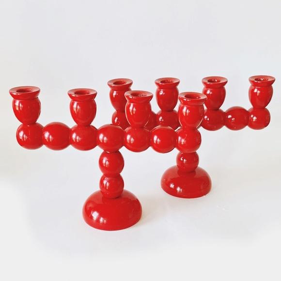 Set of 2 Vintage Swedish Red Wood Ball Candle Holder 4 arm Large Candelabra